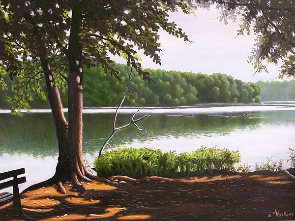 Parks Painting - Morning At City Lake Park by Larry Hoskins