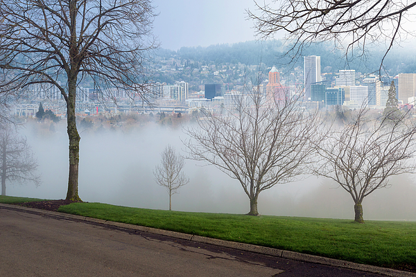 Portland Photograph - Morning Fog Over City Of Portland Skyline by David Gn