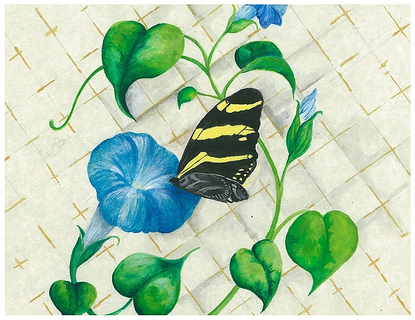 Morning Glories Painting - Morning Glories And Butterfly by Sally Balfany