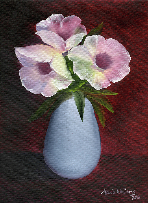 Floral Painting - Morning Glories by Maria Williams