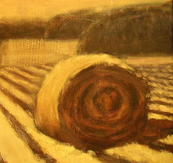 Art Sale Painting - Morning Haybale by Jaylynn Johnson