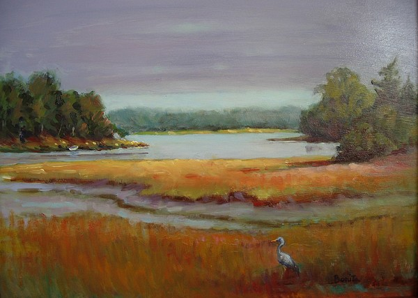 Maine Painting - Morning In The Salt Marsh by Bonita Waitl