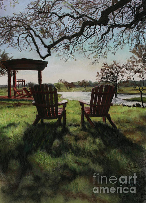 Landscape Drawing - Morning Light At The Vineyard Florence Texas by Kelly Borsheim