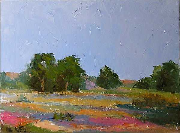 Soft Warm Colors Painting - Morning Meadow by Don Barnes