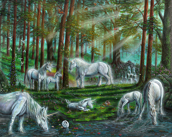 Unicorns Painting - Morning Mist by Billy Leslie