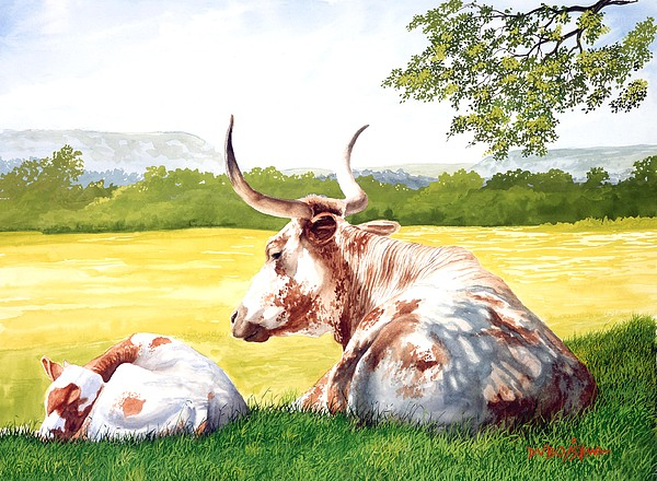 Longhorn Painting - Morning Solitude by Howard Dubois