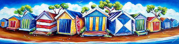 Beach Boxes Painting - Mornington Beach Huts by Deb Broughton