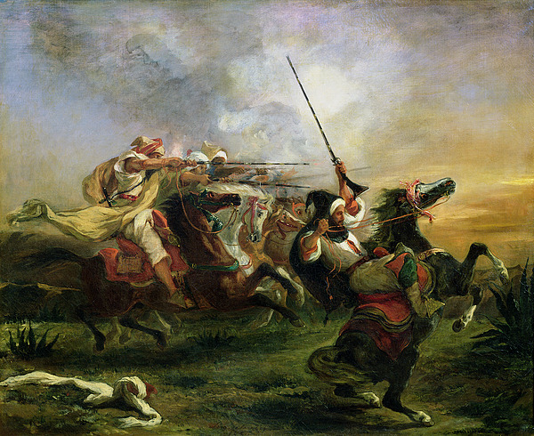 Moroccan Painting - Moroccan Horsemen In Military Action by Ferdinand Victor Eugene Delacroix