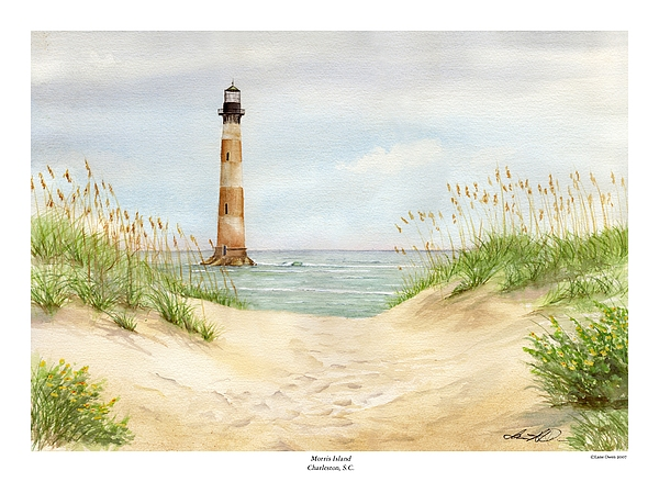 Seascape Painting - Morris Island Light House by Lane Owen