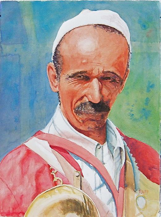 Portrait Painting - Morrocan Musician by Jan Rapp