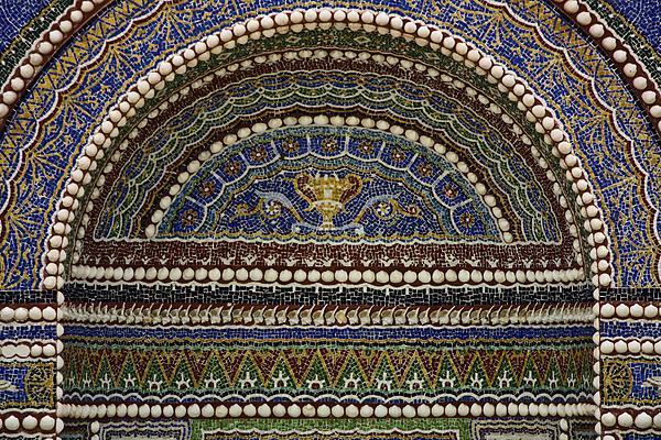 Getty Photograph - Mosaic And Shell Fountain Getty Villa Malibu California by Teresa Mucha