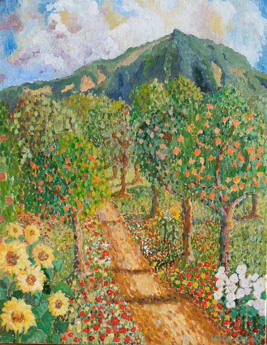 Landscape Painting - Mosaic Landscape by Leela Logan