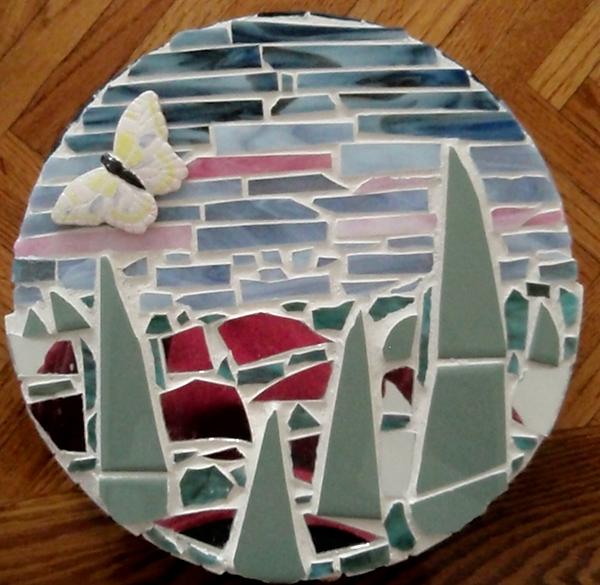 Mosaic Glass Art - Mosaic Sailboats by Jamie Frier