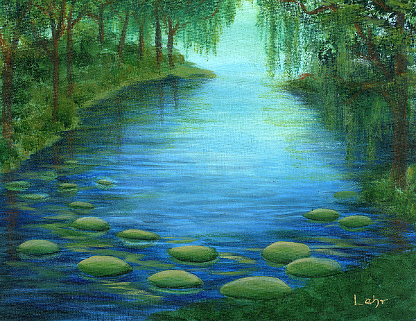 Pond Painting - Mossy Cove by Diana Lehr