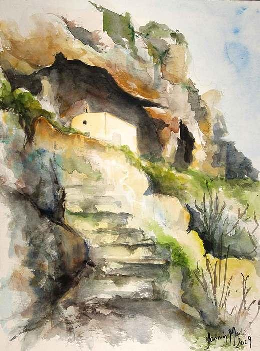 Chapel Painting - Mosta Valley by Yasmin  Modi