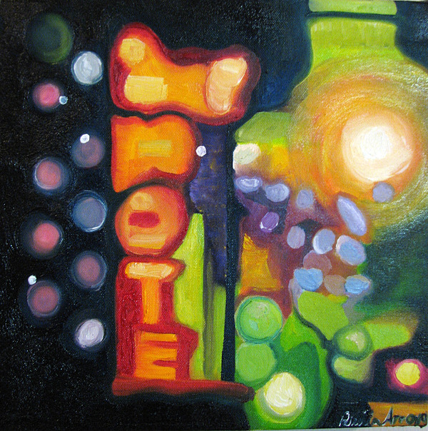 N Painting - Motel Lights by Patricia Arroyo
