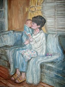 Mother And Child 1 Painting by Joseph Sandora Jr