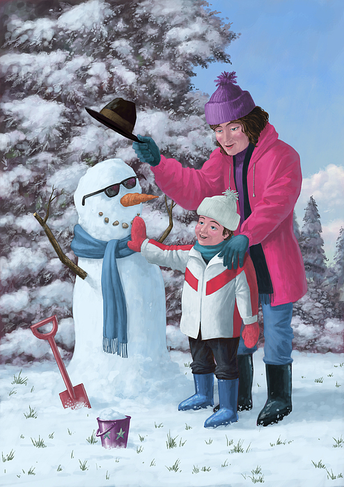 Snow Painting - Mother And Child Building Snowman by Martin Davey