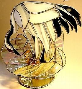 Stained Glass Sculpture Glass Art - Mother And Child by Karen Ichino