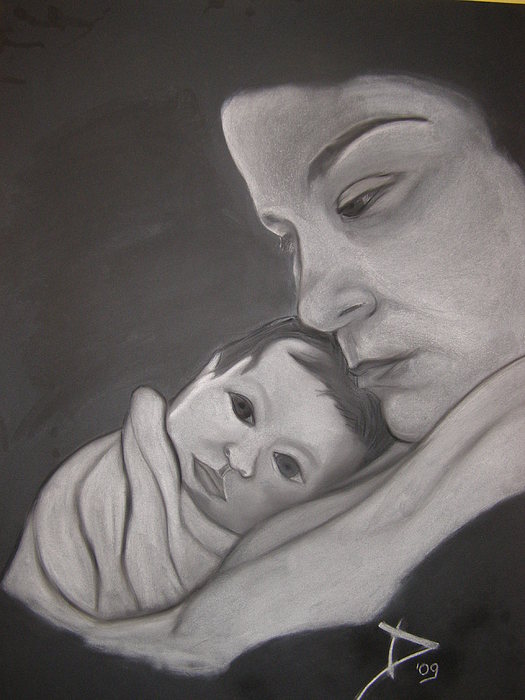 Portrait Drawing - Mother And Son by Damir Maricic