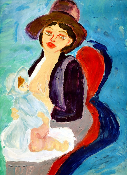 Mother Painting - Mother Breastfeeding Baby by Anna Angelou