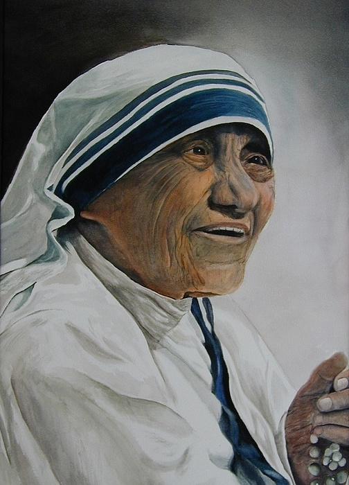 Lady Painting - Mother Teresa by Dwight Williams