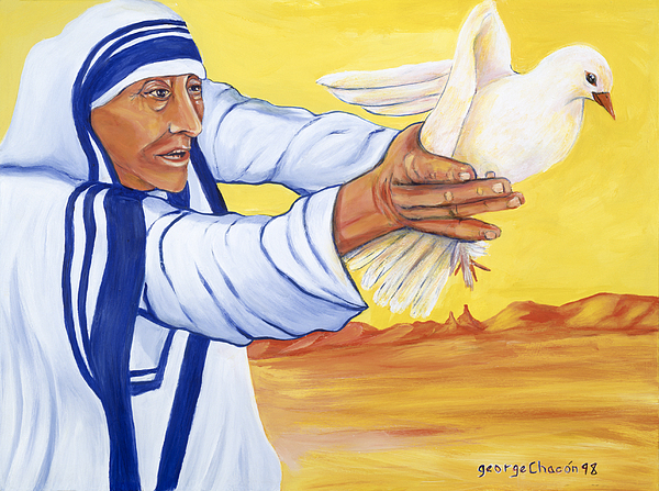 New Mexico Painting - Mother Teresa In New Mexico by George Chacon