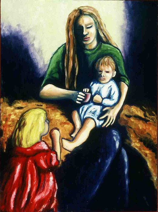 Mother With Children Painting - Mother With Children by Helen O Hara