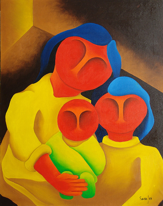 Sacha Circulism Painting - Mother With Her Children  1987 by S A C H A -  Circulism Technique