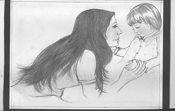 Pencil Sketch Drawing - Motherhood by Nischitha Shenoy