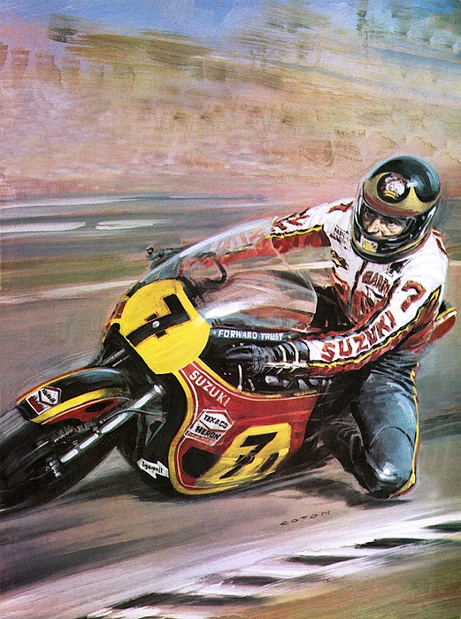 Jacket Painting - Motorcycle Racing by Graham Coton