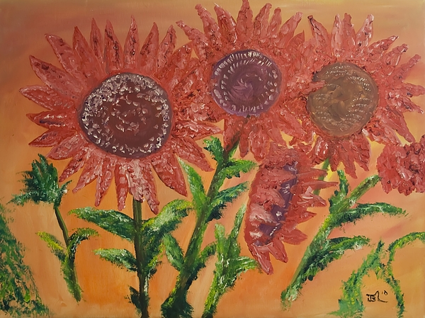 Sunflower Painting - Moulinrouge Sunflowers by James Bryron Love