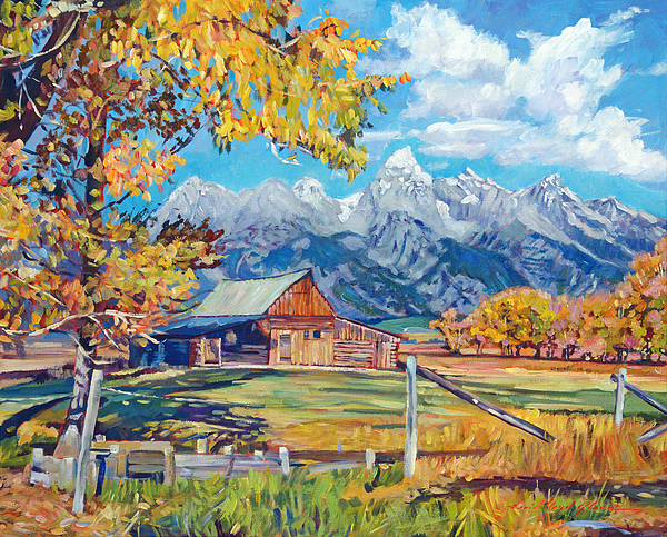 Landscape Painting - Moultons Barn Grand Tetons by David Lloyd Glover