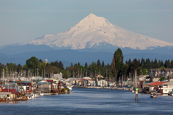 Mount Hood Photograph - Mount Hood And Columbia River House Boats by David Gn