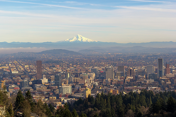 Mount Hood Photograph - Mount Hood Over City Of Portland Oregon by David Gn