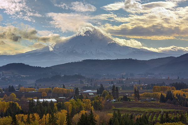 Hood River Photograph - Mount Hood Over Hood River Valley In Fall by David Gn
