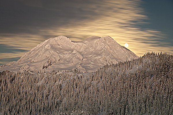 Mount Rainier Photograph - Mount Rainier Full Moonrise Winter by Ed Book