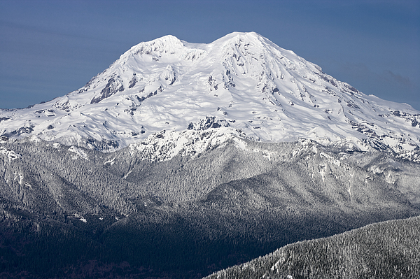 Cascade Range Photograph - Mount Rainier In Winter From Mount Tahoma Trails High Hut Washi by Ed Book
