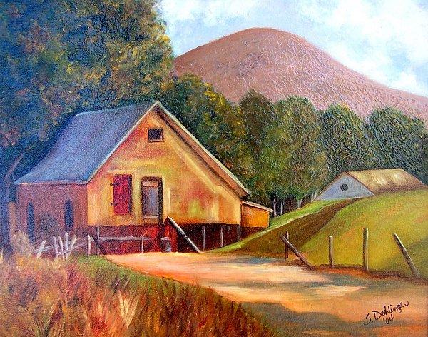 Landscape Painting - Mountain Cabin Hideaway by Susan Dehlinger