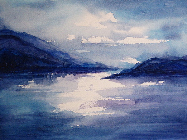 Mountain Painting - Mountain Lake In Blue by Suzanne Krueger