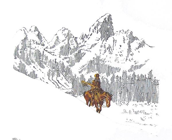 Mountain Man In The Tetons Print by Martin Goldman