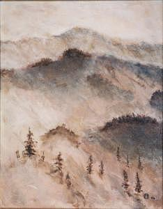 Mountain Scene Painting - Mountain Mist by Frank Sharp