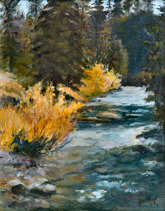Landscape Painting - Mountain River by Rita Bentley