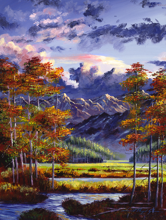 Mountains Painting - Mountain River Valley by David Lloyd Glover