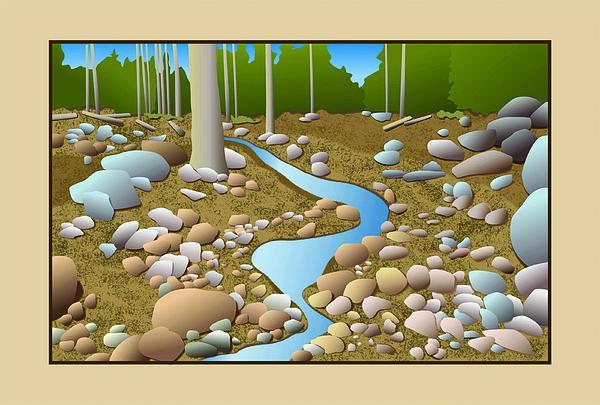 Stream Digital Art - Mountain Stream by David Strong