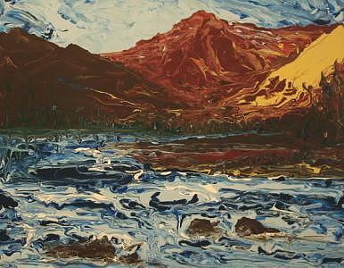 Acrylic Painting - Mountain Stream Finger Painting by William Boyer