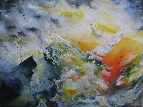 Seascape Painting - Mountain To Climb by Moray Watson