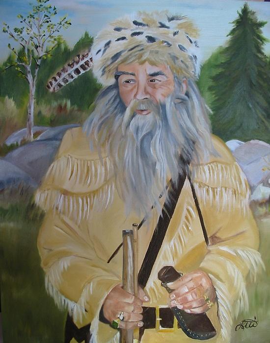 Wilderness Painting - Mountainman by Lottiemae Littlefield