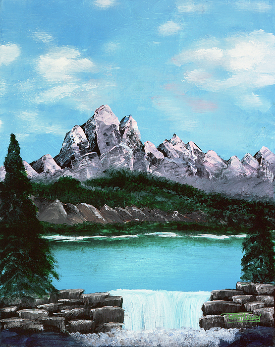 Mountain Painting - Mountian Waterfall by Terry Lewey