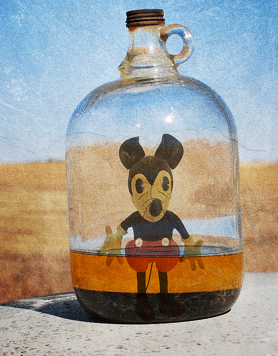 Mickey Mouse Photograph - Mouse In A Bottle  by The Artist Project